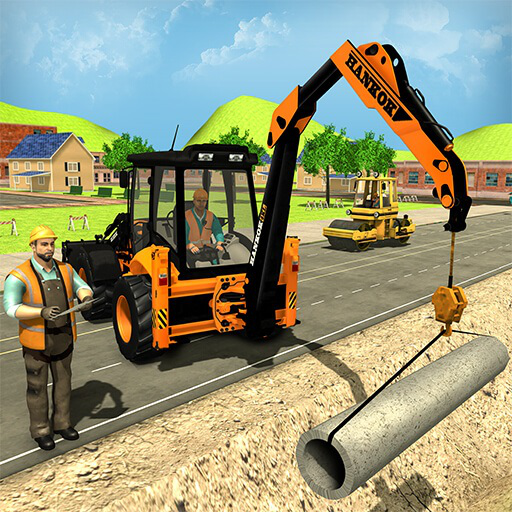 Ville Road Builder Pipe Line & Ville Construction Excavator Simulator Jeux de grue pour les enfants Loader Truck Sim jeu gratuit 2018