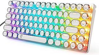 e元素赤軸メカニカル式ゲーミングキーボード RGB発光LEDバックライト付き コンパクト設計81キーアンチゴーストキー パンクレトロなキーキャップを採用 英語配列USB有線高速反応 防水LOLゲーム用キーボード (赤軸, ホワイト)