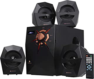 Zebronics 4.1 Multi Media Speaker with BT, USB, FM, AUX, LED Display, LED Lights and Remote Control - crytstal(4.1)