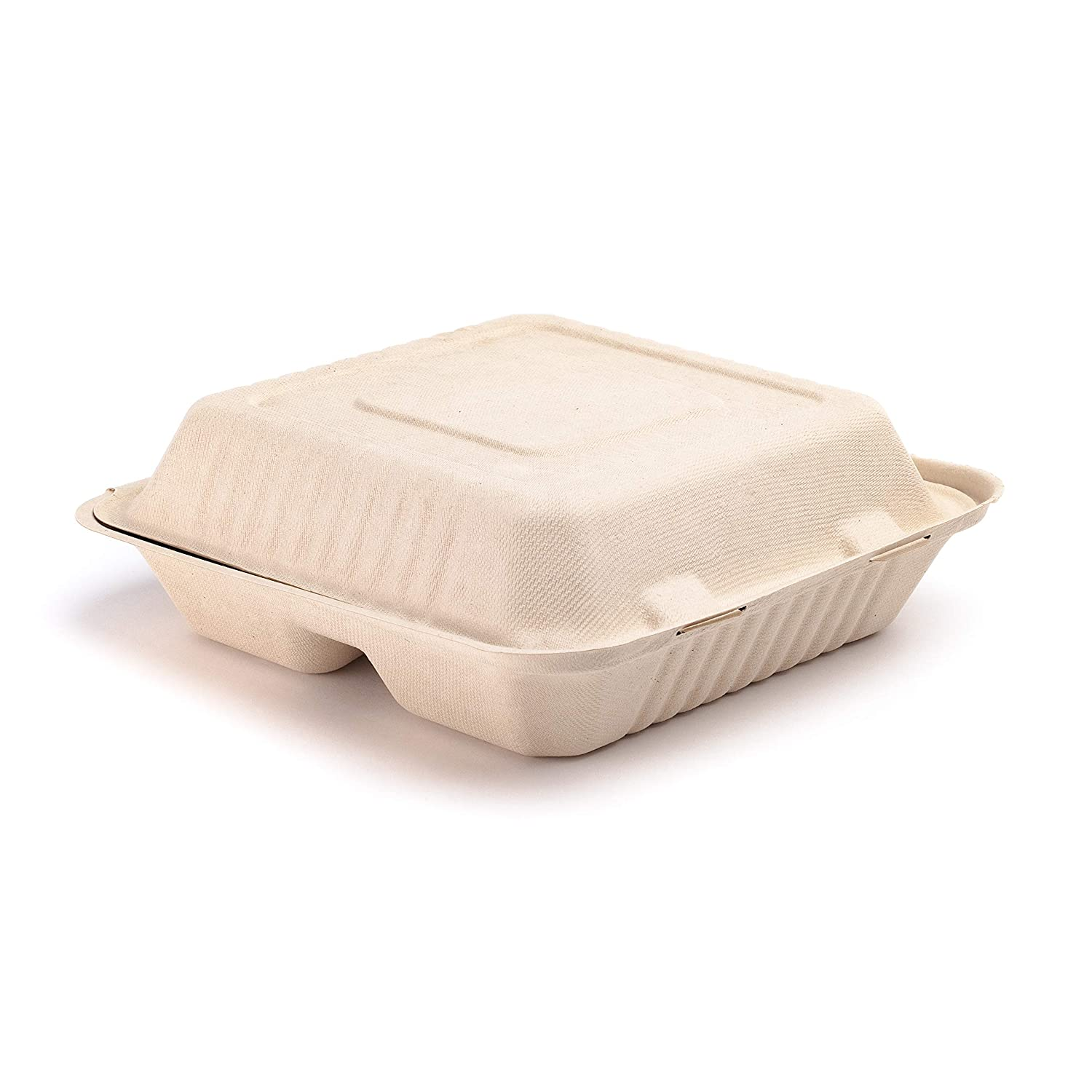 """Footprint's eco-Friendly 200 Pack Fiber 9"""" 3-Cavity Take Out Food Containers with Clamshell Hinged Lid (Natural Look) - Biodegradable, Plant-Based Fiber"""