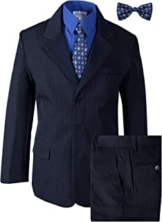 Boys' Pinstripe Navy Blue Suit with Matching Tie and Bow Tie