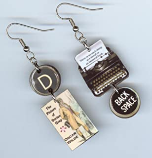 Book Cover Earrings - The Picture of Dorian Gray quote - Typewriter Key jewelry - Authors teachers readers bookish literary writers gift