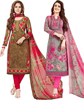 S Salwar Studio Women's Pack of 2 Synthetic Printed Unstitched Dress Material Combo(SOM-0047930_Multi_FS)