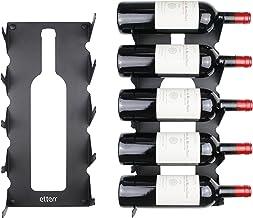 etterr Wijnrek van staal voor alle soorten wijn, met wandankers en bekleding. (zwart)