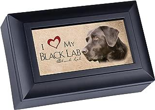 Cottage Garden Love My Black Lab Matte Black Finish Petite Jewelry Music Box - Plays Song Wonderful World