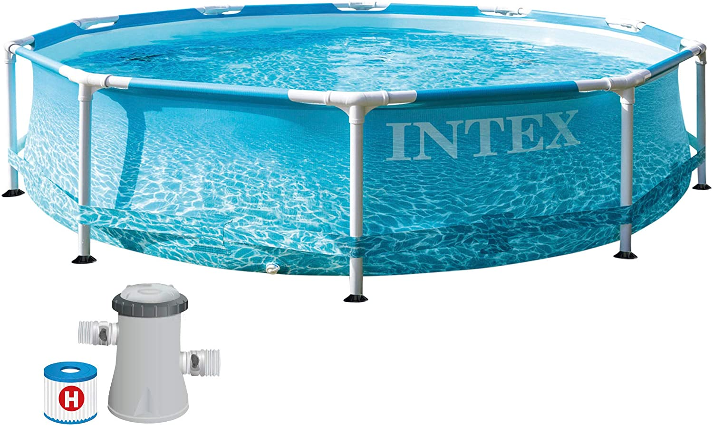 Intex 28208NP - Piscina desmontable redonda INTEX, piscina Metal Frame, con depuradora 1.250l/h, Ø305x76 cm, 4.485 litros, diseño fotorrealista del fondo marino, INTEX 55241
