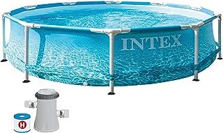 Intex 10 ft x 30-inch Beachside Metal Frame Pool Set, Multicolour