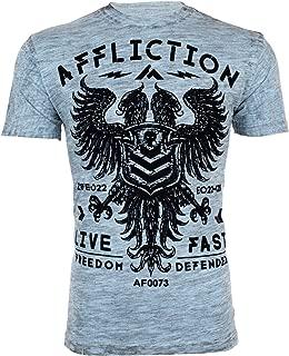 Affliction Mens T-Shirt Value Freedom Dusk Eagle Light Blue Biker UFC Jeans