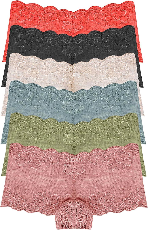 RUNYA Womens Lace Boyshort Panties Sexy Lingerie Underwear Briefs , Pack of 6
