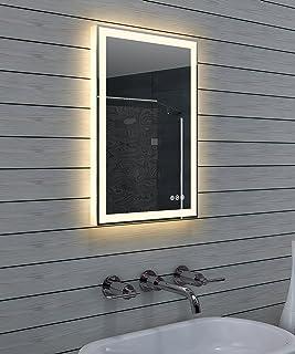 Lux-aqua LED-verlichting koud/warm wit lichtspiegel dimbaar ML40B60H, glas, gespiegeld, 40 x 60 x 3,5 cm