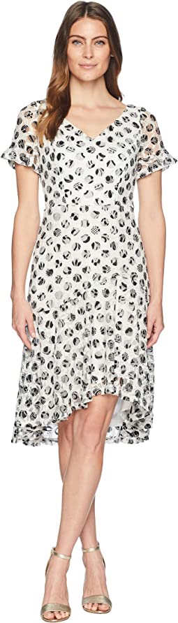 Polka Dot Short Sleeve Lace Dress