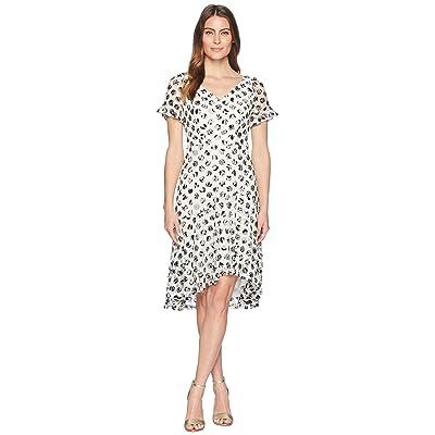 Sangria Polka Dot Short Sleeve Lace Dress (Ivory/Black) Women