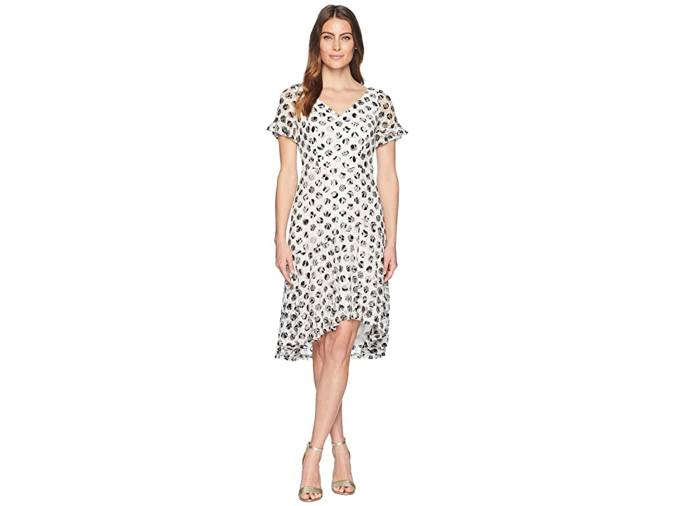 Sangria Polka Dot Short Sleeve Lace Dress (Ivory/Black) Women