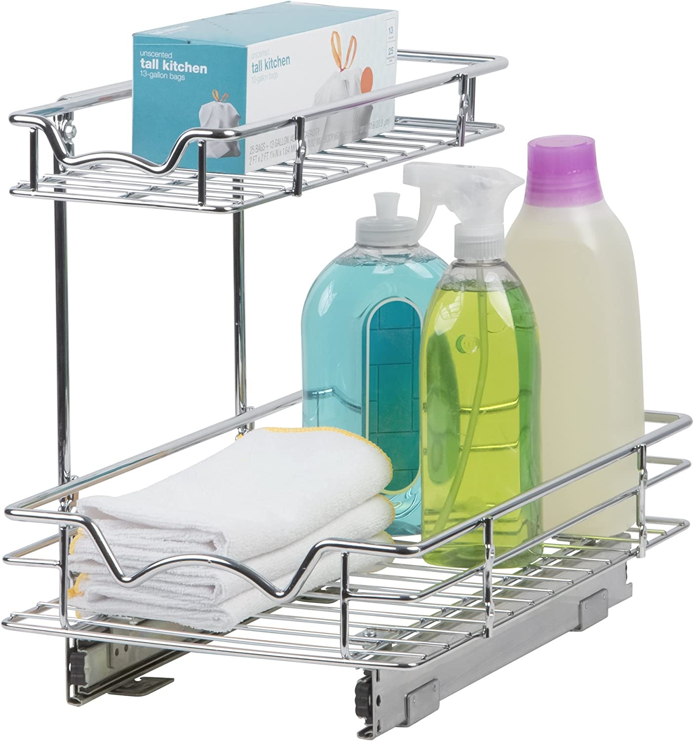 Amazon Com Richards Homewares Under The Sink Pull Out Drawer Kitchen Vanity Storage Slideout Cabinet Organizer Roll Out 11 W X18 D X14 5 H Requires At Least 12 5 Opening Heavy Duty Metal Basket 18 D