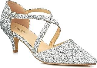 561b0f545fde 0068 New Ladies Cross Strap Glitter Pointed Ankle Strap Low Kitten Heel  Sandals