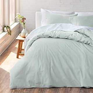Welhome Cozy 100% Cotton Percale Washed Reversible Duvet Set - Full/Queen Size (Seafoam) - 88