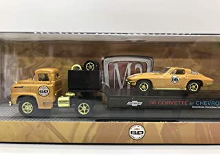 M2 Machines Auto Haulers Less Than 500 Worldwide Chase Car with Gold Wheels & Unique Design Chevrolet 60 Years Turbo Fire V8 1958 LCF & 1966 Chevrolet Corvette 327 1:64 Scale S15 15-07 Orange