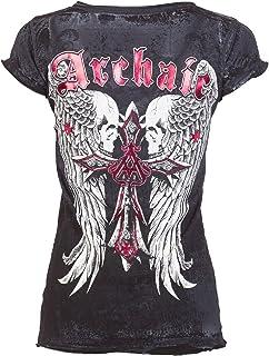 Affliction Archaic Womens T-Shirt Lustrous Skulls Tattoo Biker Sinful