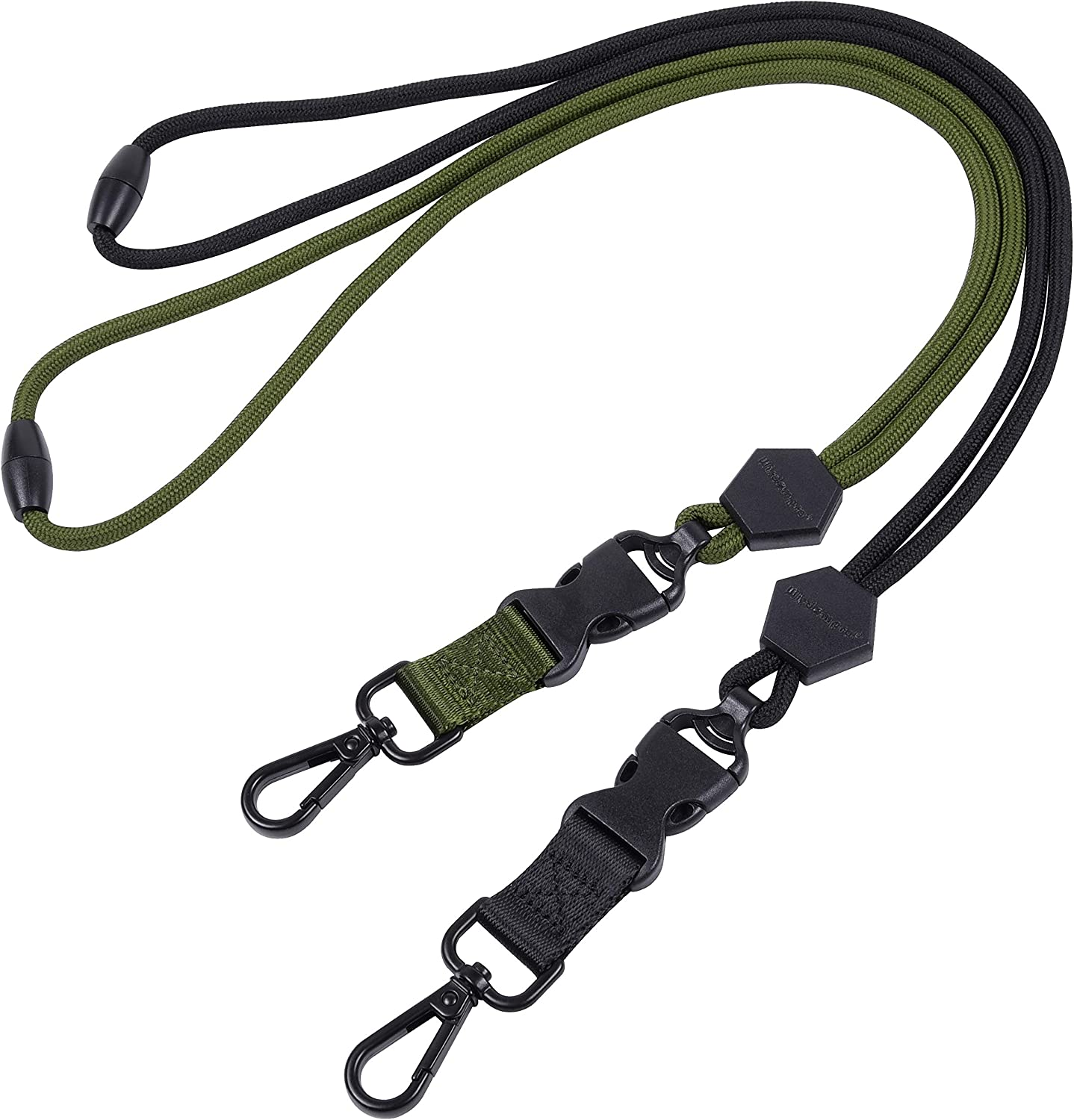 Wisdompro 2 Pack of 23 inch Durable Round Cord Adjustable Lanyard with Safety Breakaway Buckle Black and Army Green Detachable Buckle and Heavy Duty Metal Hook for ID Card Badge Holder and Keys