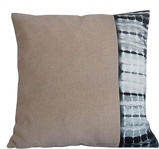 Cojín de lino con shibori. Cojín 45 x45 cm.Lino y Gris pizarra - BeccaTextile