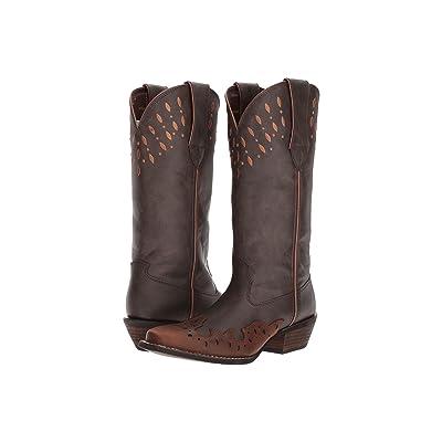Durango Crush 13 Laser Cut (Dark Brown/Carmel) Cowboy Boots