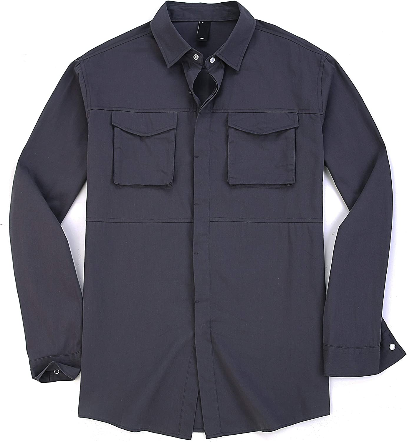 Esabel.C Men's Casual Button-Down Shirts, Long Sleeve Outdoor Shirts for Men Regular Fit, Cotton Work Shirt with Two Pockets