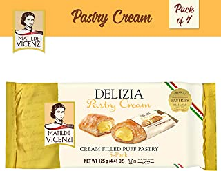 Matilde Vicenzi, Delizia Pastry Cream, Cream Filled Puff Pastry Patisserie Rolls (125g Box, 4-pack) Dairy, Kosher, Made in Italy