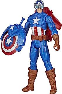 Marvel Avengers Titan Hero-reeks Blast Gear Captain America, actiefiguur van 30 cm, met launcher, 2 accessoires en project...