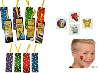 4 Dozen (48) Laminated WIZARD Bookmarks & 144 Knights + Dragons Tattoos- WIZARD party supplies - Teachers Classroom prize