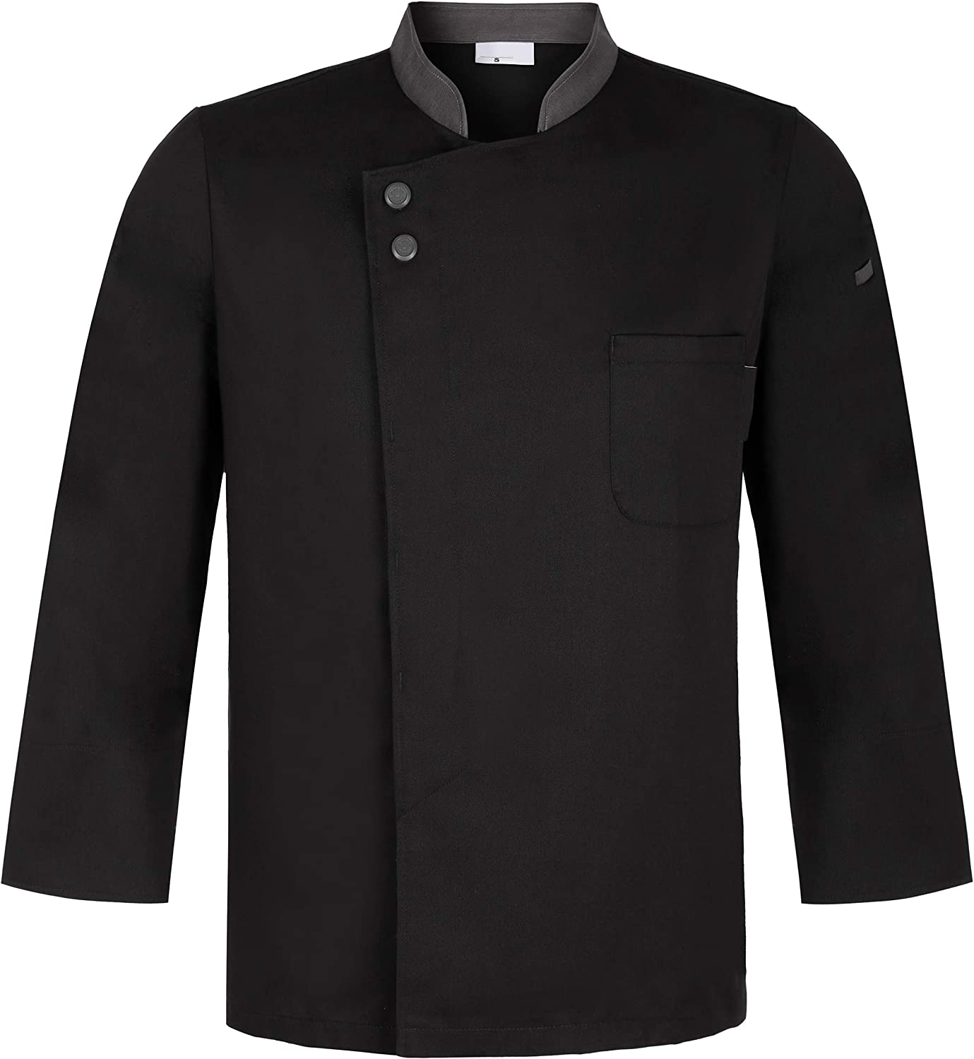 Chef OFFicial site Coat Jacket Uniform with Placket Front Max 45% OFF Concealed Grey Snap
