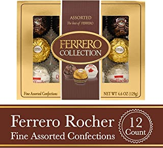 Ferrero Rocher Fine Hazelnut Milk Chocolates, 12 Count, Assorted Coconut Candy and Chocolate Collection Gift Box, Perfect Easter Egg and Basket Stuffers, 4.6 Oz