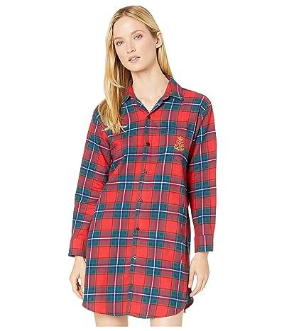 LAUREN Ralph Lauren Brushed Twill Long Sleeve His Shirt Sleepshirt (Red Plaid) Women