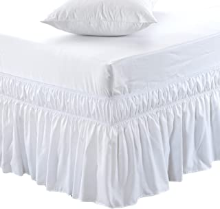 MEILA Three Fabric Sides Wrap Around Elastic Solid Bed Skirt, Easy On/Easy Off Dust Ruffled Bed Skirts 16 Inch Tailored Drop (White Queen/King)