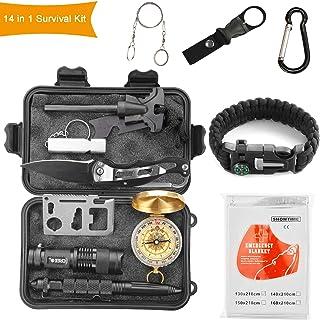 22df65fccf Halcent Kit Sopravvivenza Militare, 14 Piece Kit Emergenza Multiuso con  Bussola Pietra Focaia Sopravvivenza Kit