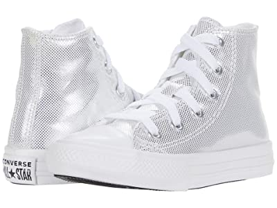 Converse Kids Chuck Taylor(r) All Star(r) Diamond Dust Hi (Little Kid/Big Kid) (White/Black/Silver) Girls Shoes