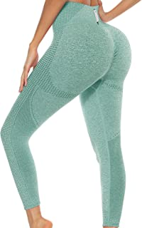 Cestyle Womens Booty Lifting Tummy Control High Waist Yoga Pants with Pockets Seamless Scrunch Butt Leggings