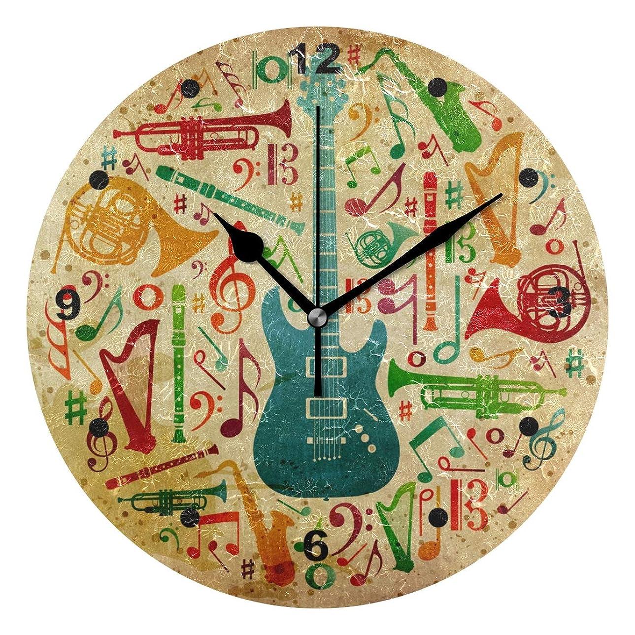 避けられない電極自伝インテリア 掛け時計 木製 サイレント キッズ 子供 部屋 簡単 音符 楽器 ギター 絵柄子供 置き時計 おしゃれ 北欧 時計 壁掛け 連続秒針 電池式