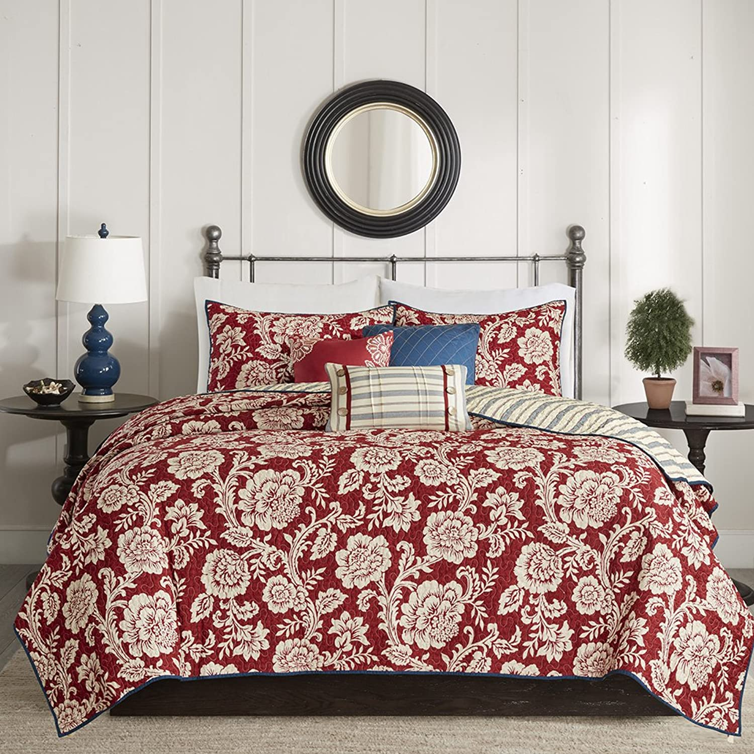 Madison Park Lucy King Cal King Size Quilt Bedding Set - Red, Navy , Reversible Floral, Stripes – 6 Piece Bedding Quilt Coverlets – Cotton Twill, Cotton Poly Blend Reverse Bed Quilts Quilted Coverlet
