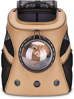 Lollimeow Large Pet Carrier Backpack, Bubble Backpack Carrier for Fat Cats and Puppies,Airline-Approved(Khaki)