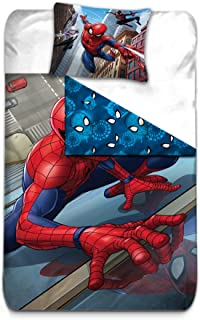 Marvel Spiderman Kids Reversible Double Faced Super Soft 100% Cotton Duvet Cover and Pillow Cover Bed Set