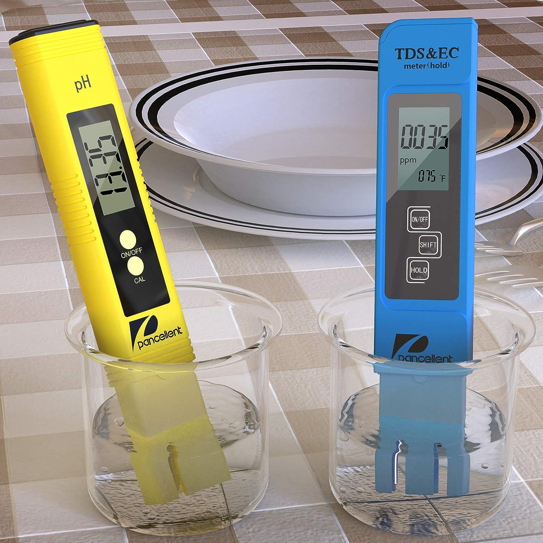 Gelb Pancellent Wasserqualit/ätstest Meter TDS PH 2 in 1 Set 0-9990 PPM Messbereich 1 PPM Aufl/ösung 2/% Ablesegenauigkeit
