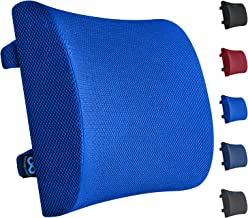 Everlasting Comfort Lumbar Support Pillow for Office Chair - Pure Memory Foam Back Cushion for Car (Blue)