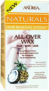 Andrea Naturals Hair Removal System All Over Wax for Face, Body and Legs - Coconut Pineapple, 4-Ounce (Pack of 2)