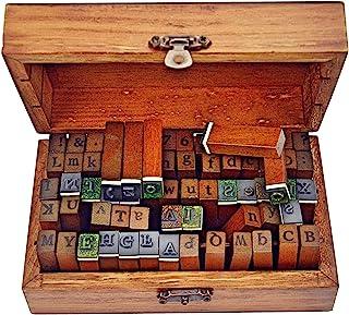 70pcs Alphabet Stamps Vintage Wooden Rubber Letter Number and Symbol Stamp Set for DIY Craft Card Making Happy Planner Scr...