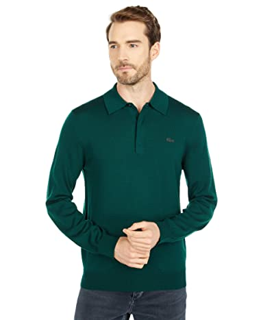 Lacoste Long Sleeve Solid Jersey 1/4 Zip Sweater (Sinople) Men
