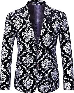 Boyland Men's Dress Suit Jacket Luxury Jacquard Notched Lapel Floral Blazer Formal Dress Prom
