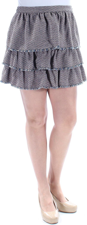 Sonia Rykiel $760 Womens New 1351 Blue Pink Printed Fringed Ruffled Skirt 14 B+B