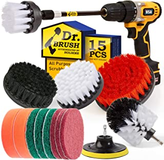 Holikme 15Piece Drill Brush Attachments Set, White Scrub Pads & Sponge, Power..