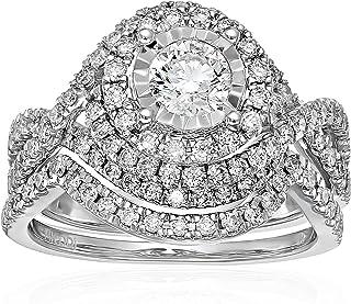 14k White Gold Diamond Bypass Bridal Wedding Ring Set (1 1/2cttw, I Color, I2 Clarity)