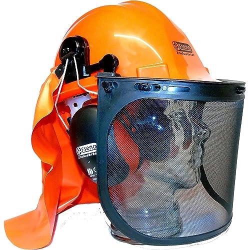 Casco Eseno Industrial de seguridad, con protectores de oído, con viseras, con protector